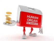Carácter de la caja del trasplante con la pila de monedas libre illustration