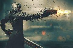 Carácter de la ciencia ficción en el traje futurista que apunta el arma Fotos de archivo libres de regalías