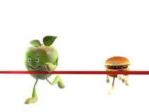 Carácter de la comida - manzana contra buger Imágenes de archivo libres de regalías