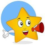 Carácter de la estrella que sostiene un megáfono Imágenes de archivo libres de regalías