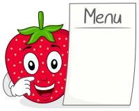 Carácter de la fresa con el menú en blanco Imagen de archivo libre de regalías