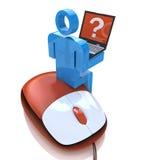 carácter de la gente 3d, persona con un ordenador portátil y pensamiento en ratón de la PC Imágenes de archivo libres de regalías
