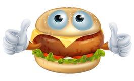 Carácter de la hamburguesa de la historieta Fotografía de archivo