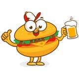 Carácter de la hamburguesa que sostiene la cerveza libre illustration