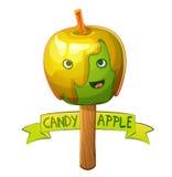 Carácter de la manzana de caramelo Ilustración del vector de la historieta Fotografía de archivo libre de regalías
