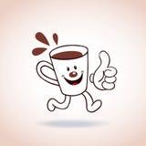 Carácter de la mascota de la taza de café de la historieta Imagen de archivo libre de regalías