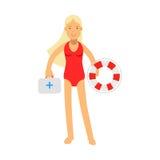 Carácter de la muchacha del salvavidas en un traje de baño rojo que celebra el ejemplo del equipo del salvavidas y de primeros au ilustración del vector