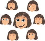 Carácter de la muchacha del vector con vario ecpressio de la cara Imagen de archivo