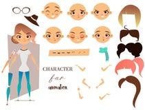 Carácter de la muchacha para sus escenas y animación Imagen de archivo libre de regalías