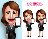 Carácter de la mujer profesional con la pantalla en blanco que muestra sonriente feliz del equipo del negocio teléfono móvil Imagenes de archivo