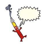 carácter de la pluma de la historieta con la burbuja del discurso Fotos de archivo libres de regalías
