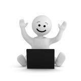 Carácter de la sonrisa con la computadora portátil stock de ilustración