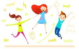 Carácter de los niños de la historieta El salto de los niños Las muchachas y el muchacho felices gozan y el jugar ilustración del vector