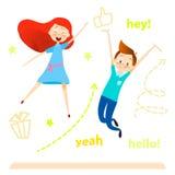 Carácter de los niños de la historieta El salto de los niños Las muchachas y el muchacho felices gozan y el jugar libre illustration