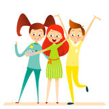 Carácter de los niños de la historieta Los niños sonrisa, hacen el selfie Imagenes de archivo