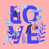 Carácter de los pares del amor que fecha la bandera de la tipografía Abrazo feliz del amante, beso, sentándose en banco de parque libre illustration