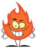 Carácter de mueca malvado de la llama Imagen de archivo libre de regalías