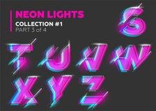 Carácter de neón del vector compuesto tipo Letras que brillan intensamente en oscuridad Foto de archivo libre de regalías