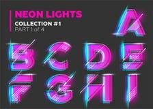 Carácter de neón del vector compuesto tipo Letras que brillan intensamente en oscuridad Fotografía de archivo libre de regalías