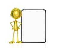 Carácter de oro con el tablero blanco Imagen de archivo libre de regalías