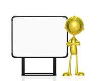 Carácter de oro con el tablero blanco Foto de archivo libre de regalías