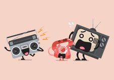Carácter de radio del canto teléfono y televisión molestos stock de ilustración