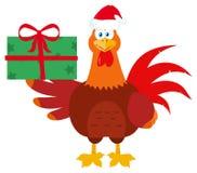 Carácter de Santa Rooster Bird Cartoon Mascot que sostiene los regalos Ilustración del Vector