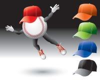 Carácter del béisbol con los sombreros Imagenes de archivo