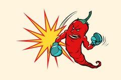 Carácter del boxeador de la pimienta de chile rojo stock de ilustración