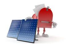 Carácter del buzón con el panel fotovoltaico ilustración del vector