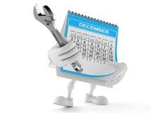 Carácter del calendario que sostiene la llave ajustable stock de ilustración