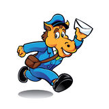 Carácter del cartero del caballo que entrega el correo Foto de archivo libre de regalías
