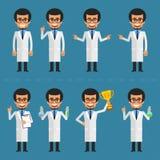 Carácter del científico en diversas actitudes stock de ilustración
