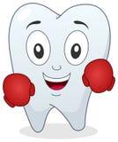 Carácter del diente del boxeador con los guantes de boxeo Foto de archivo libre de regalías