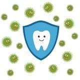 Carácter del diente en escudo protector Ataque de los caracteres de los gérmenes Fotografía de archivo