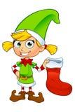 Carácter del duende de la muchacha en verde Imagen de archivo libre de regalías