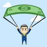 Carácter del encargado con el paracaídas fuera del dólar Fotografía de archivo libre de regalías