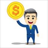 Carácter del encargado con la moneda del dólar Imagenes de archivo