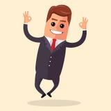 Carácter del encargado del vector feliz y con los brazos abiertos, sonriendo ampliamente Ejemplo plano o negocio Imagen de archivo