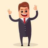Carácter del encargado del vector feliz y con los brazos abiertos, sonriendo ampliamente Ejemplo plano o negocio Fotografía de archivo