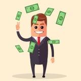 Carácter del encargado del vector que sonríe y que salta Los billetes de dólar vuelan alrededor de una persona Riqueza del éxito  Imagen de archivo