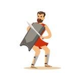 Carácter del guerrero, hombre con una espada y un escudo en un ejemplo del vector de posición del combate Imágenes de archivo libres de regalías
