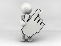 carácter del hombre 3D con el cursor Fotografía de archivo