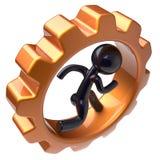 Carácter del hombre de la rueda de engranaje que funciona con la rueda dentada interior de la rueda dentada Stock de ilustración