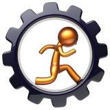 Carácter del hombre de la rueda de engranaje que funciona con el icono duro del negocio interior Libre Illustration