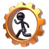 Carácter del hombre de negocios que funciona con el trabajo duro de la rueda dentada interior Stock de ilustración