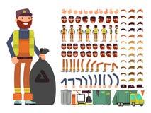 Carácter del hombre del vector del trabajador del saneamiento Constructor de la creación con el sistema de partes del cuerpo y de ilustración del vector