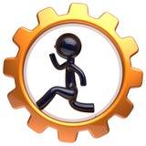 Carácter del hombre dentro del icono corriente del hombre de negocios de la rueda dentada Ilustración del Vector