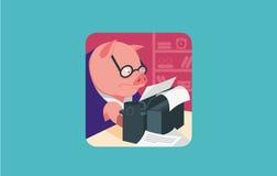 Carácter del icono para la máquina de escribir del cerdo jpg stock de ilustración
