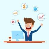 Carácter del inversor Hombre de negocios que trabaja en el equipo de escritorio con los iconos financieros ilustración del vector